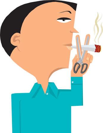 Man holding scissors under smoking cigarette
