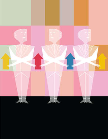 Businessmen holding arrows with arms crossed