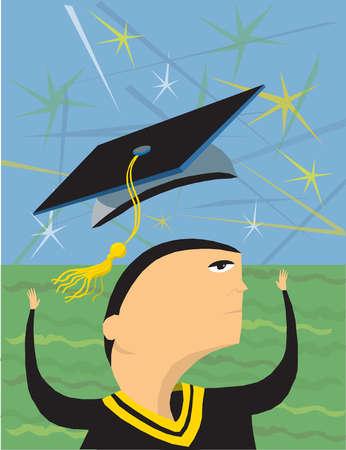 Graduate throwing cap overhead