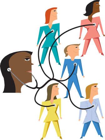Stethoscope connecting nurses