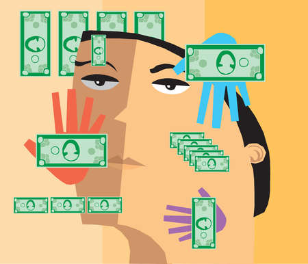 Money and hands covering man?s face