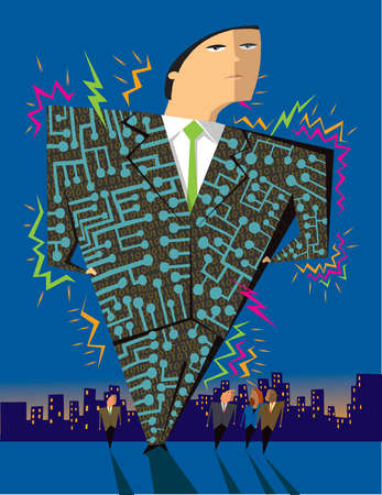 Circuit board lines covering large businessman