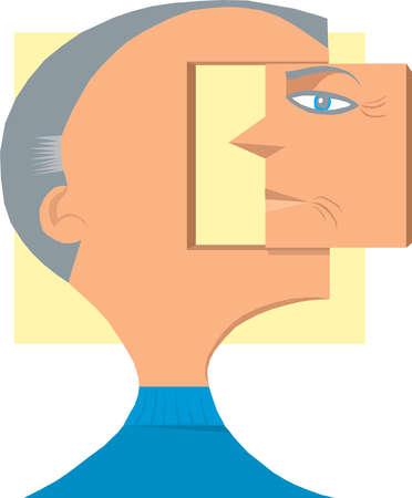 Face of man on swivel block