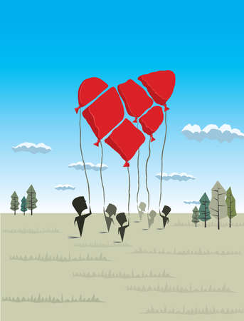 People holding balloons forming heart-shape