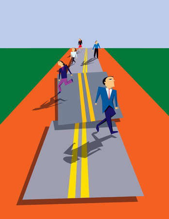 Business people walking on pieces of road