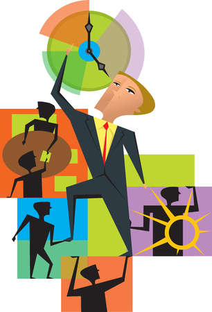 Business people supporting businessman reaching for clock