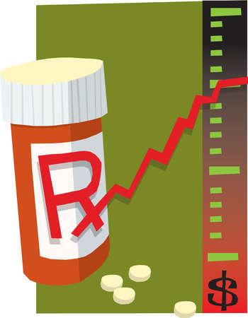 Prescription bottle next to dollar sign chart