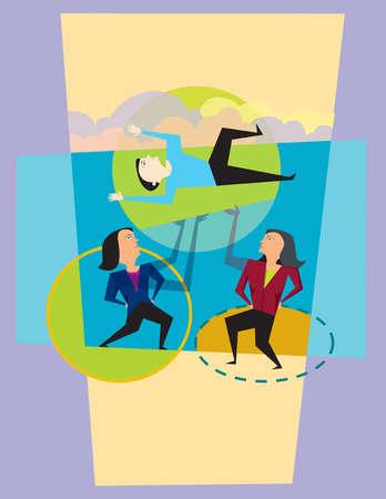 Businesswomen lifting businessman overhead