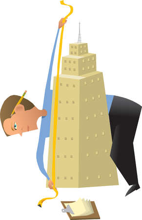 Businessman measuring highrise with tape measure