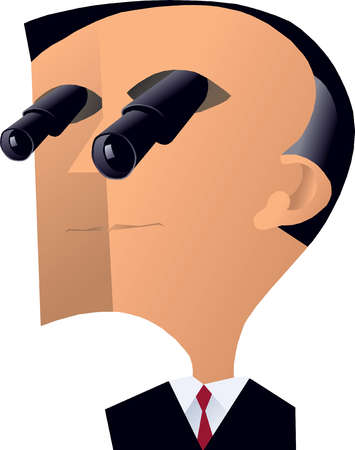 Businessman with telescope eyes