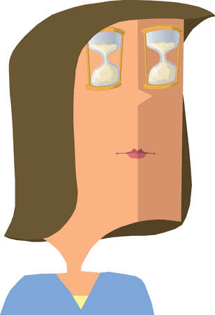 Hourglasses covering woman?s eyes