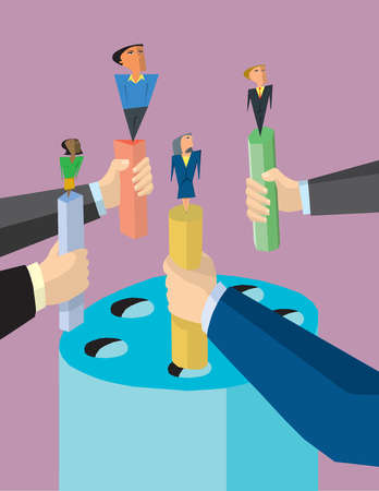 Arms holding business people on pegs