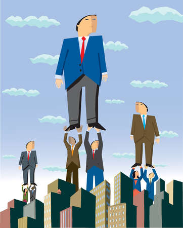 Business people lifting businessman above city