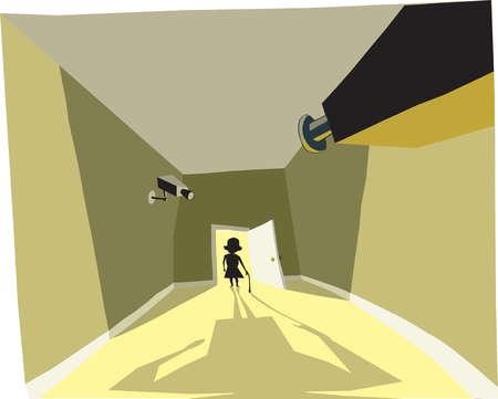 Surveillance cameras on elderly woman in doorway