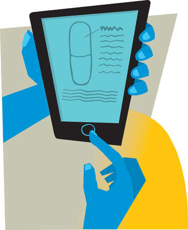 Hands holding digital tablet with pill