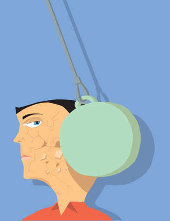 Wrecking ball cracking man's face