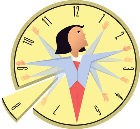 Businesswoman with multiple clock hands