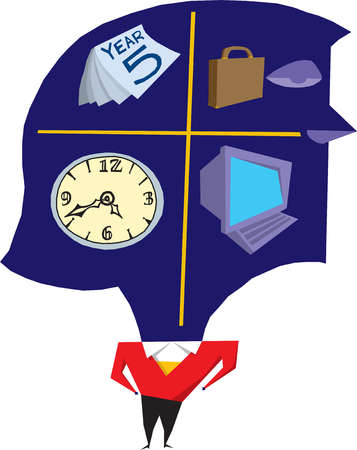Clock, calendar, briefcase and computer in brain of woman