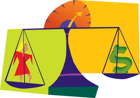 Woman and dollar sign on scales of justice