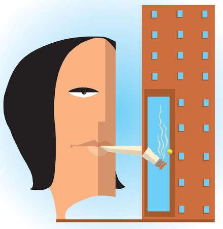 Woman smoking cigarette in doorway of building