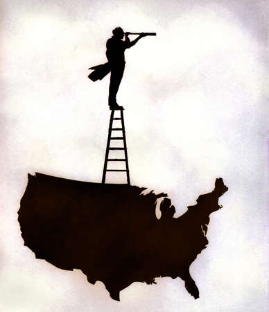 Man on a ladder atop a map of the United States, looking through a telescope