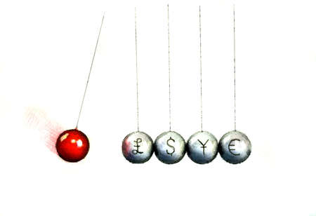 Newton's cradle with a red ball about to hit balls with currency symbols on them