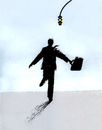 Businessman running toward a yellow traffic light