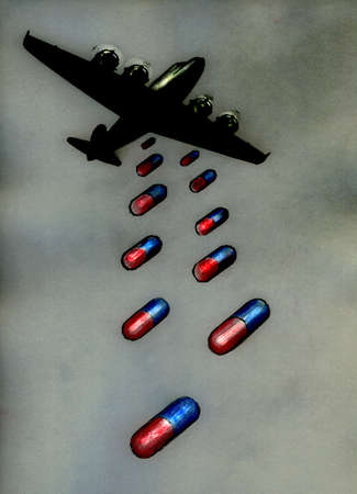 Airplane dropping medication in the form of pills