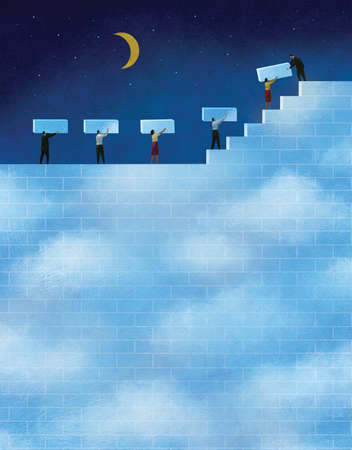 People building a wall of daytime in front of a night sky with moon