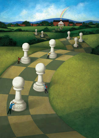 Students Pushing Chess Pieces, labeled with forms of loans, on a checkered Path Towards a university with a rainbow behind it