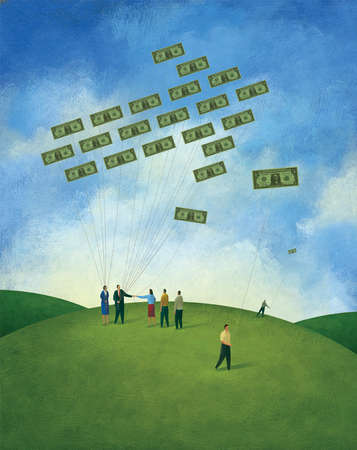 Group of People Flying Kites made of Money
