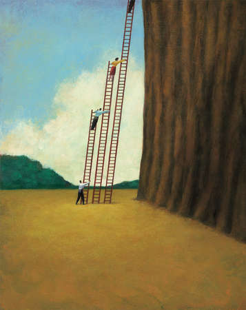 People on Various Sized Ladders Scaling Tree
