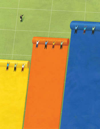 Three Groups of People Rolling Out Three Different Colored Tarps on a Playing Field and Being Led by One Person