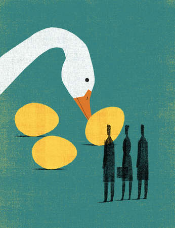 Big Goose Rolling Three Golden Eggs to Three People