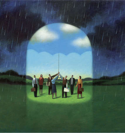 Group of People Under a Blue Sky Umbrella Protected by Dark Clouds and Rain