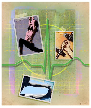 Montage of fitness images and electrocardiogram test