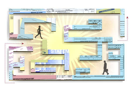 Man and woman walking through maze constructed of various financial and income forms