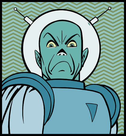 Cartoon of angry man in space suit