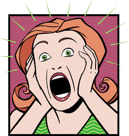 Cartoon of surprised woman with head in hands and mouth open