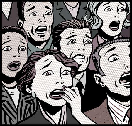 Cartoon of afraid audience