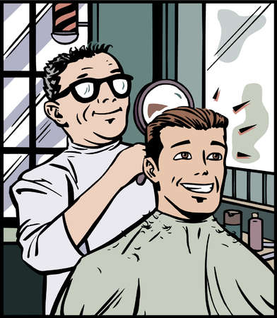Cartoon of barber holding hand mirror behind customer