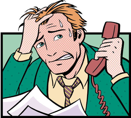 Businessman sweating on telephone