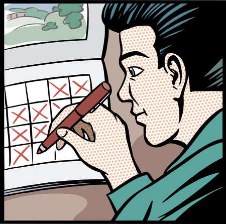 Cartoon of businessman checking days off calendar