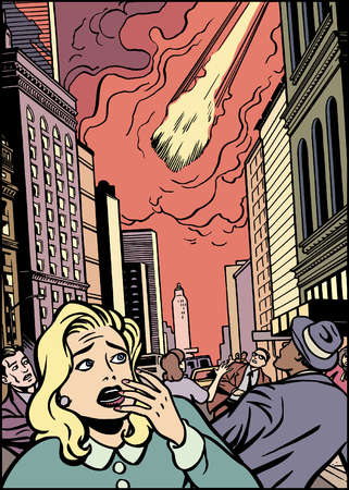 Cartoon of comet falling above frightened people in city