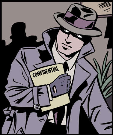 "Man in trench coat holding ""confidential"" file"