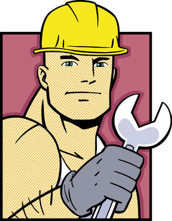 Portrait of construction worker holding wrench