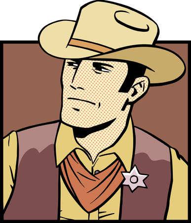 Cartoon of serious western sheriff