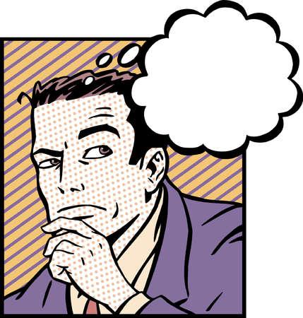Thought bubble above pensive businessman
