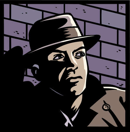Comic book of serious man in fedora lurking in shadow