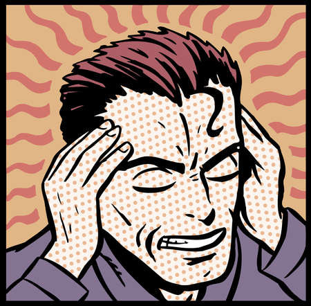 Cartoon of stressed man holding head in hands